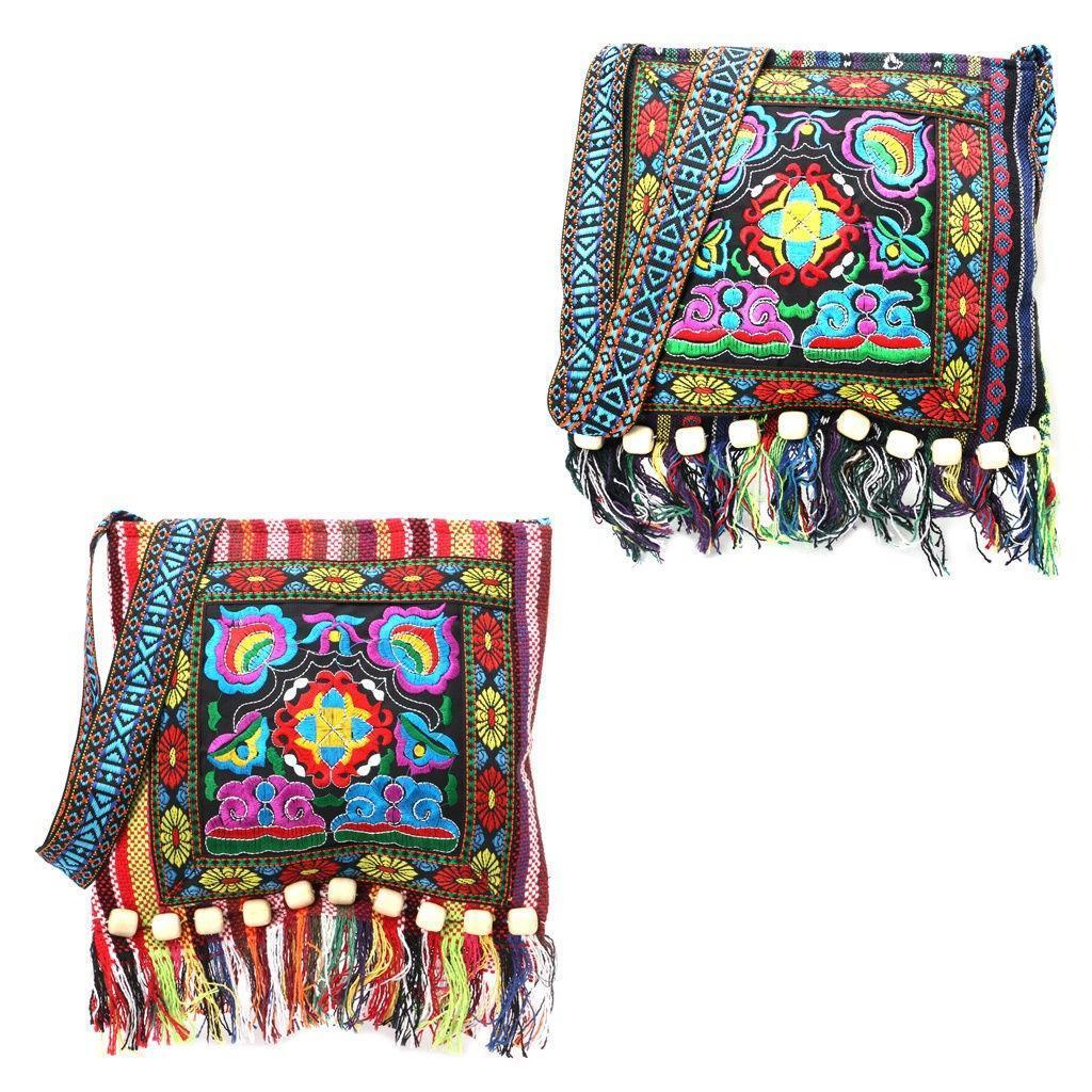 Hmong Vintage bolso étnico bordado Hippie Boho borla bolso Mensajero ...