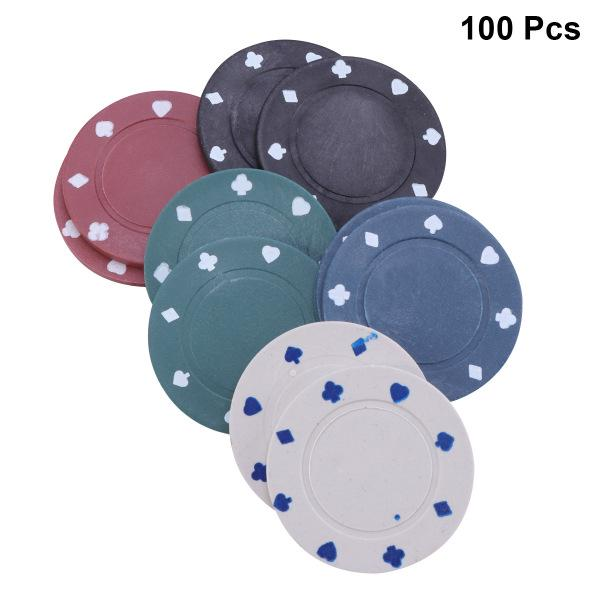 100 x POKER ROULETTE CASINO CHIPS SUITED DESIGNS IN 5 COLOURS