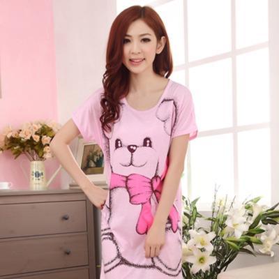 bbade32c93f Летних женщин короткий рукав платье милые девушки мультфильм Медведь  печатных пижамы ночной рубашке