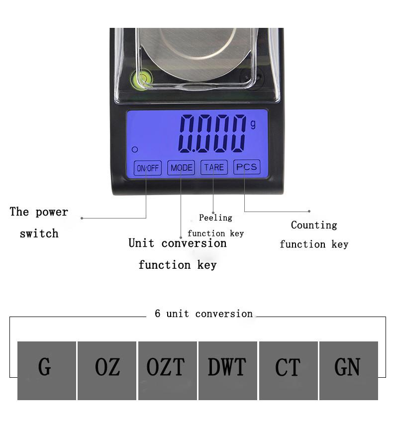 Bilancia digitale tascabile di precisione 0.001g 30g Diamond Jewelry grano ricarico in polvere