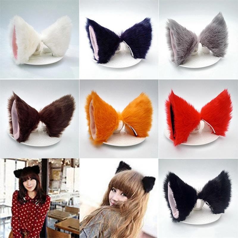 2pcs Fancy Dress Anime Party Cosplay Black Cat Ear with Hair Clips Hairpin