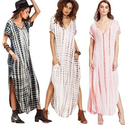 ce95217cdf0 Женщины свободно случайные печати длинные сдвиг платье