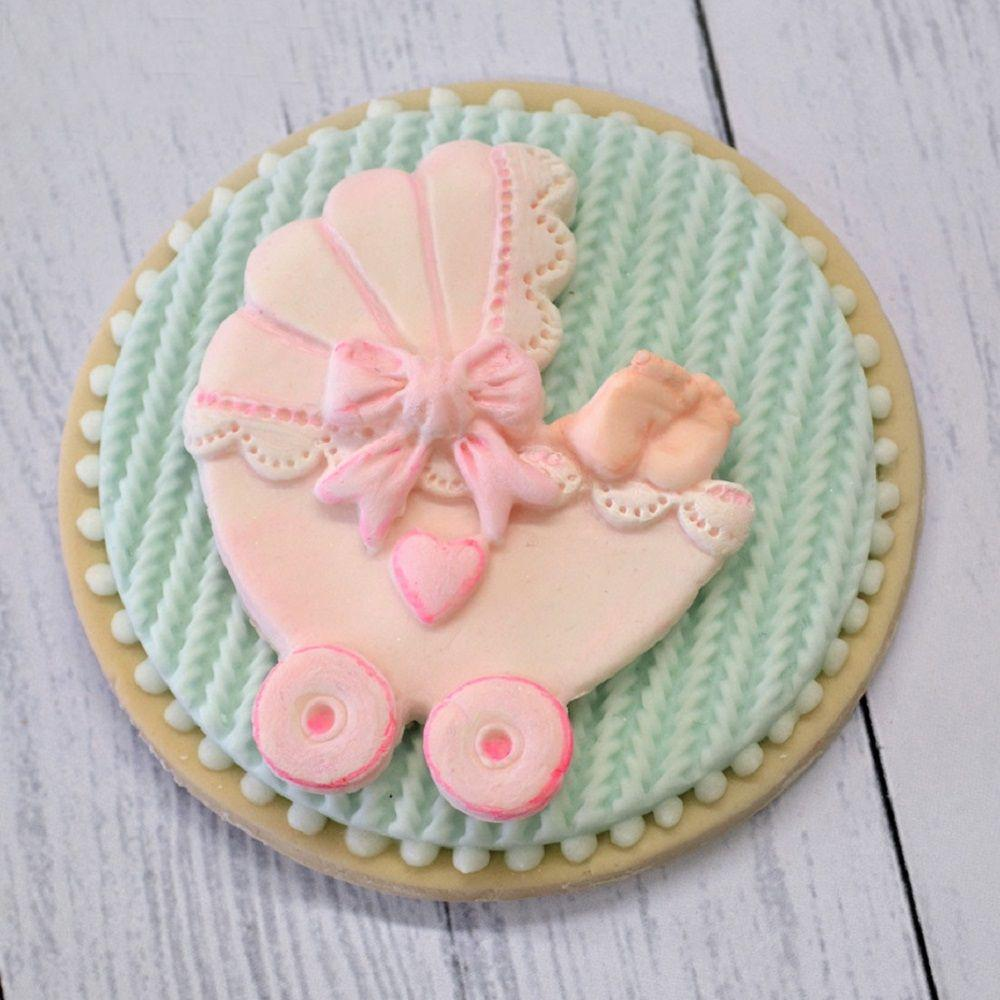 Baby car Carriage Silicone mold Bow tie fondant mold cake decorating tools