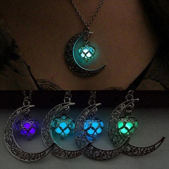 Luna Brillante Colgante Turquesa Encanto Joyas Cadena Collar Halloween Regalos Comprar A Precios Bajos En La Tienda En Línea Joom