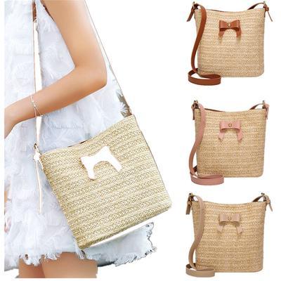 45aa9de393ed Женщины Повседневная сумка лук соломенные мешки тканые ведро мешок сумочка  Crossbody мешок