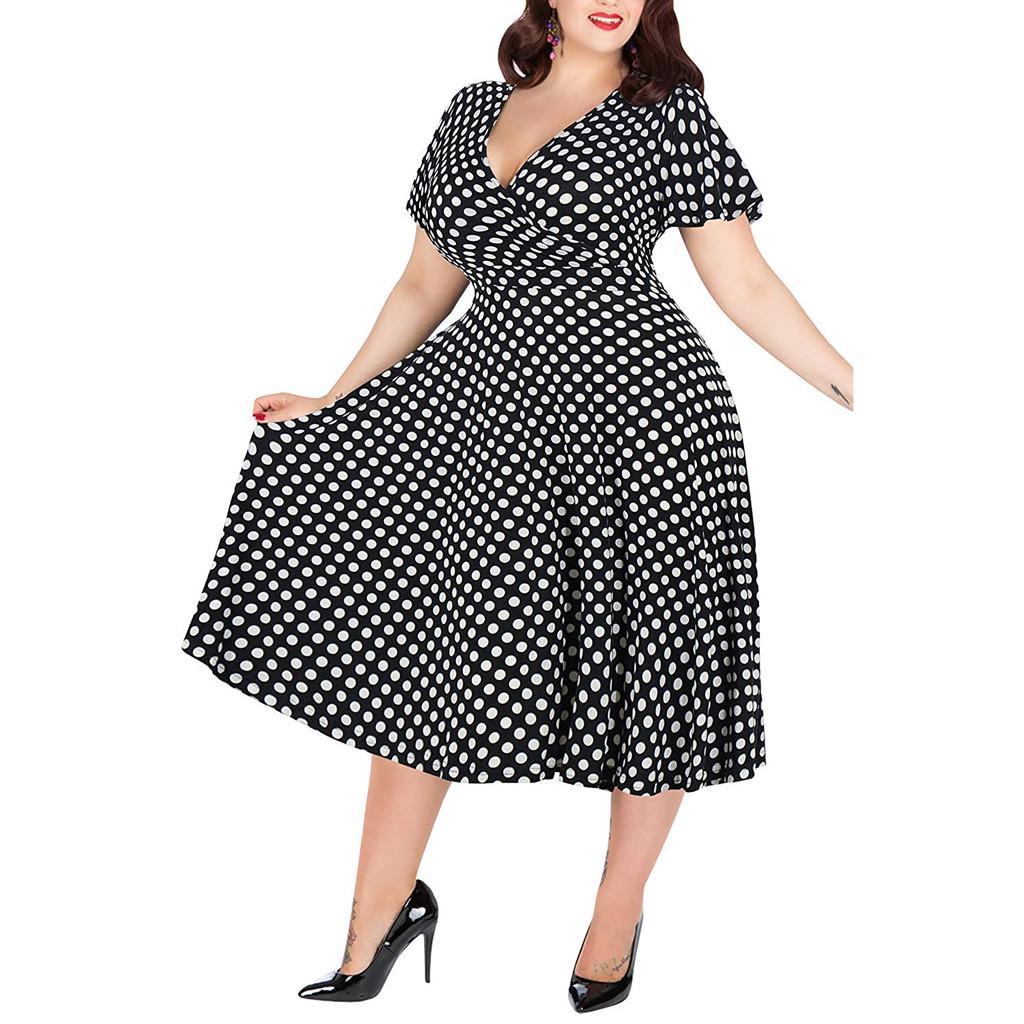 Женское повседневное платье больших размеров с v-образным вырезом, короткими рукавами и принтом в горошек с поясом – купить по низким ценам в интернет-магазине Joom