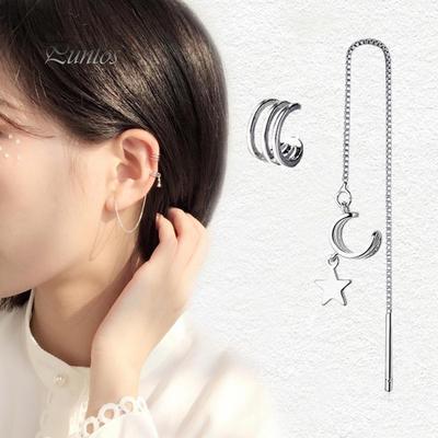 Men Women Charm Square Stainless Steel Pierced Earrings Ear Bone Nose Nail Studs