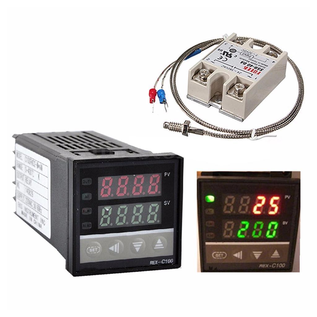 Adjustable Control Temperature Controller SSR-40A Thermocouple Heat Sink AC100-240V Digital Temperature Controller