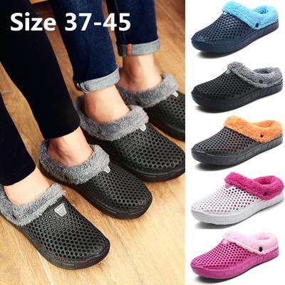 EVA y felpa Varonil caliente agujero con zapatillas de algodón grueso 40 41 42 43 44 45 , gray , 44
