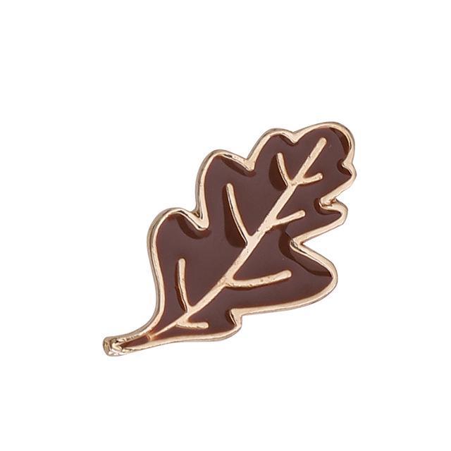 Jj Brooch Tree Leaves Pine Cone Enamel Pin Brooches Bag Clothes Pin Ginkgo Biloba Badge Nature Gift Women