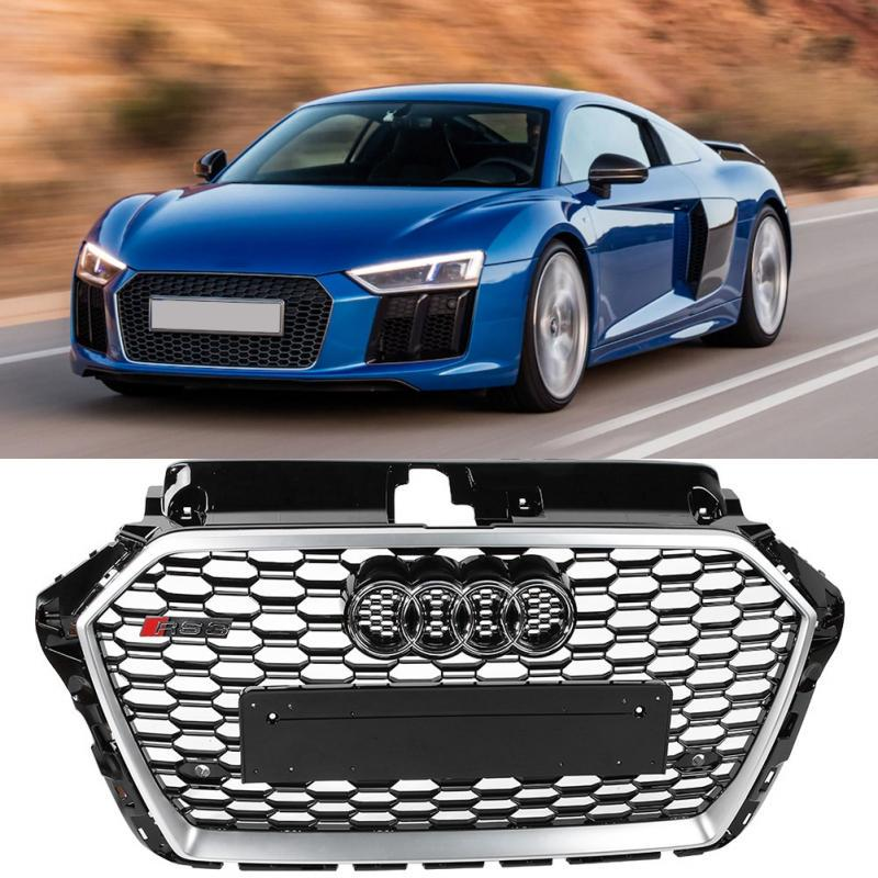 1X RS5 Style Front Bumper Vent Grilles Plating Frame+LOGO Refit For Audi A5 2009