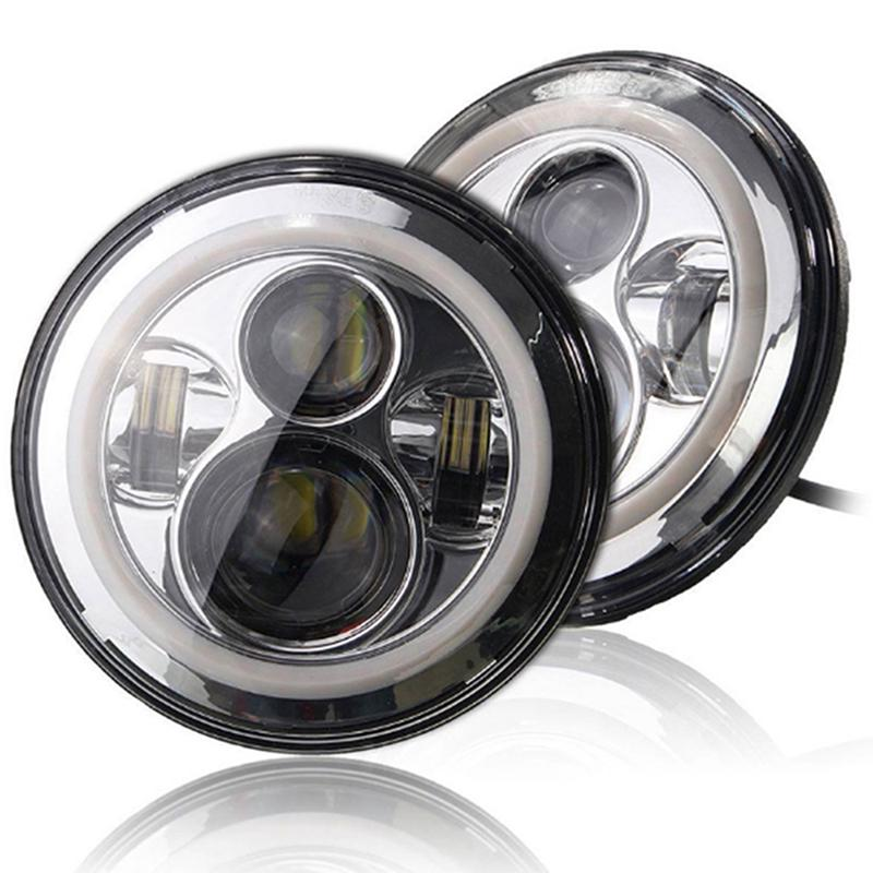 7 Inch 150W Round Jeep Headlights with Ring Angel Eyes Lights DRL High Low Beam for Motorcycle Jeep TJ Wrangler LJ JK Fog Lights Jeep LED Headlights Jeep Halo LED Headlights with H4 H13 Adapter