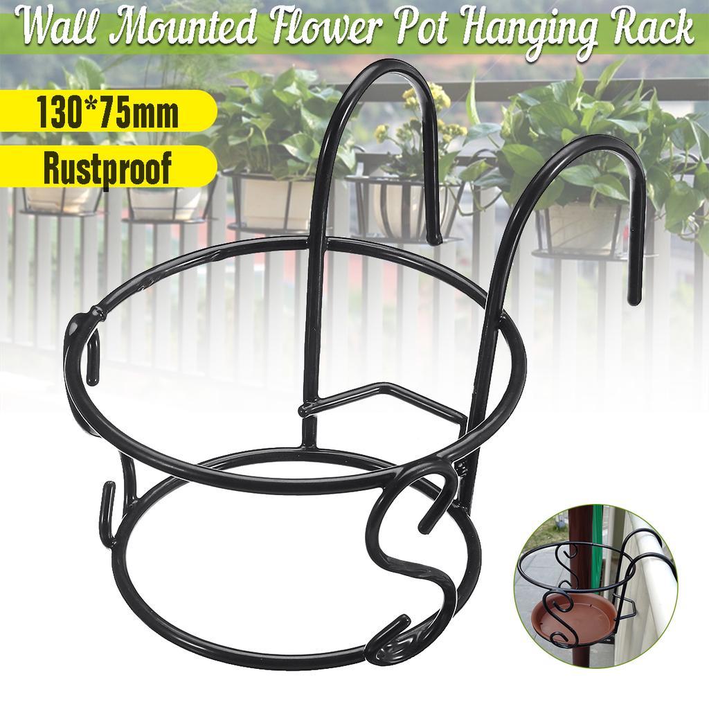 Image of: Plant Hanging Rack Round Flower Pot Iron Shelf Rail Fence Garden Balcony Decor Buy At A Low Prices On Joom E Commerce Platform