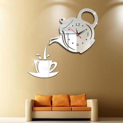 3D Acrylic Mirror Coffee Teapot Wall Clock Decorative Clock Sticker