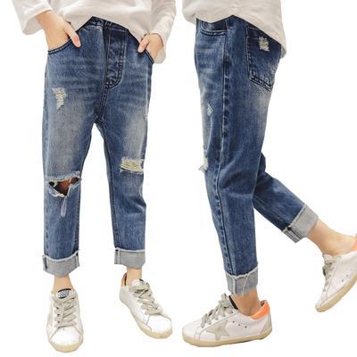 32e942c637 Bebé niña pantalones primavera arrancó los pantalones vaqueros de las  muchachas adolescentes para chicas Jeans moda