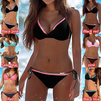 4372ab0b707 Two Pieces Women Sexy Bikini Leaf Printed Split Bikini Set Summer Beach  Swimsuit Swimwear