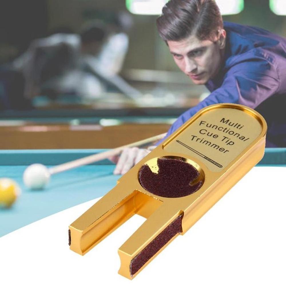 Burnisher Cue Tip Scuffer Trimmers Shaper Repairer Gold U Billiards Pool Snooker