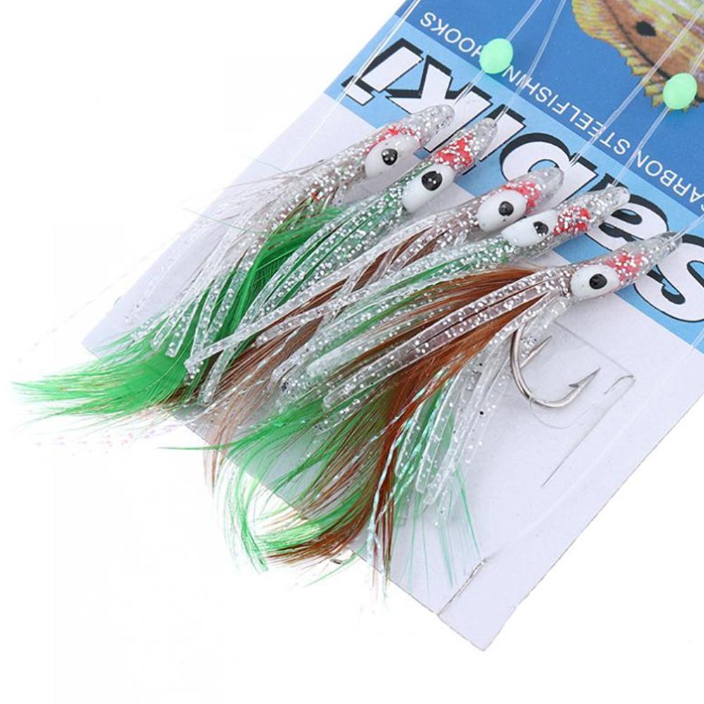 5pcs Sabiki Rig Luminous Fishing Lure String Hook Real Fish Skin Jig Worm Baits