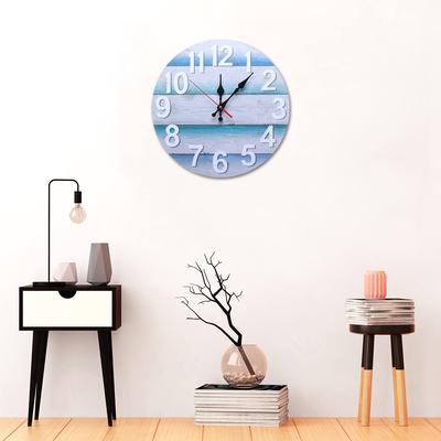 Lighthouse Mantle Clocks Ocean Nautical Clock Decor for Living Room Desktop Solid Wood Mediterranean Style for Kids Bedroom Bedside Home Decoration