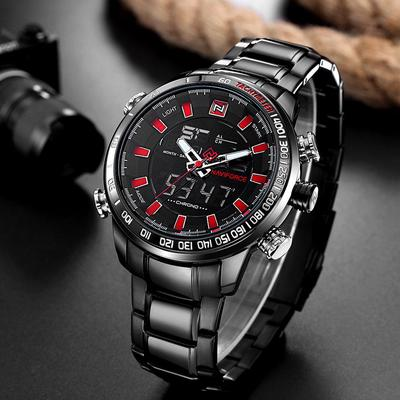 Men Fashion Sport Wristwatch Stainless Steel Dual Display Analog Digital Watches