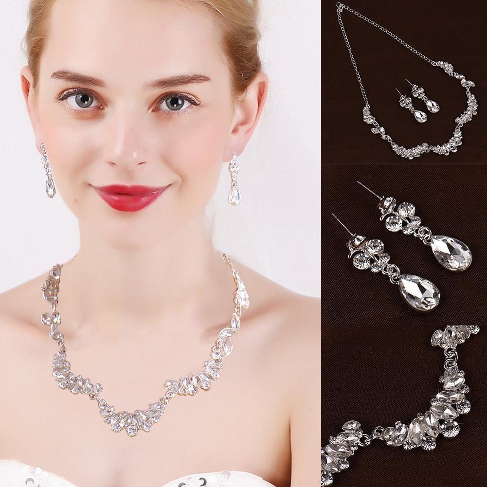 Elegante collar de diamantes de imitación fiesta Prom Set novia ...