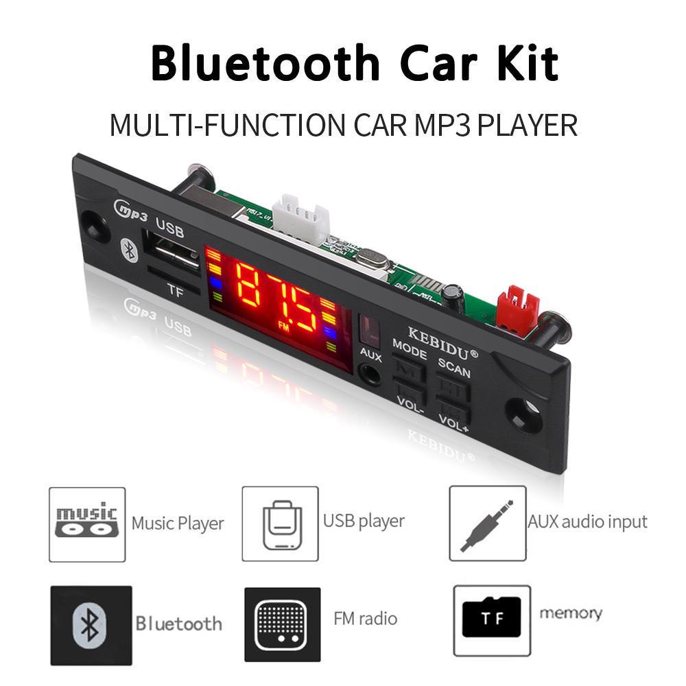 Bluetooth MP3 Decoding Board Module LED 5V//12V DIY USB//SD//TF Decoder FM Radio