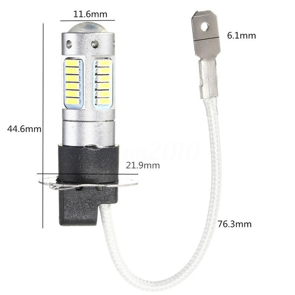 2Pcs High Power H3 4014 25W 1100LM LED Car Fog DRL Light Bulb DC 12V 6500K White
