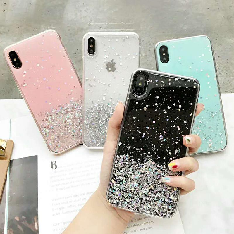 Для iPhone 11 Pro Samsung A50 Xiaomi Redmi note7 Gradient Glitter Star Case Huawei Honor 10lite Shinning Sequin Soft Clear