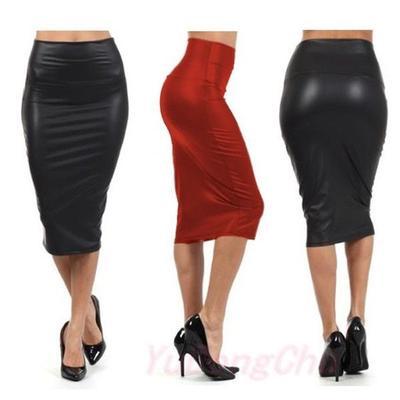 3f1475523b Women Fashion Faux Leather Pencil Skirt High Waist Sexy Below Knee Dress