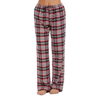 c381fa0155691d Spodnie damskie z elastyczną talią w kratę Długie spodnie w stylu Piżamy