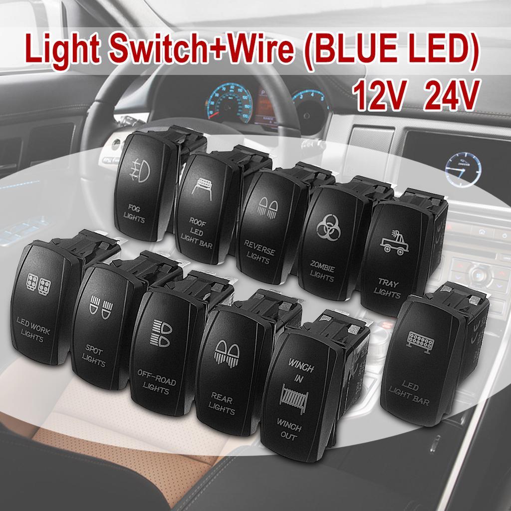 Dual LED Light Bar Blue Rocker Switches Laser Etched ARB Carling Narva 12V 24V