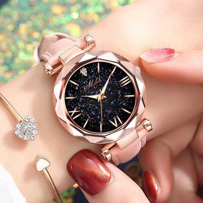 Fashion Starry Sky Round Dial Roman Number Faux Leather Band Women Quartz Wrist Watch