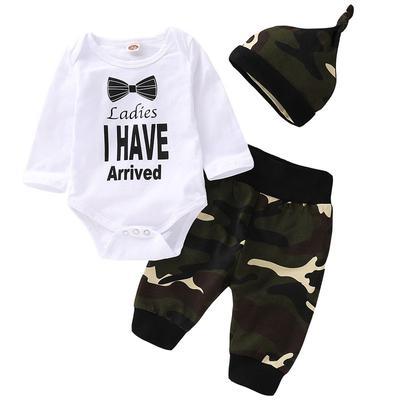 16c4e70735d6f 3pcs Newborn Baby Boy Infant Top Romper Bodysuit Long Pants Hat Sets Camo  Outfit Clothes Suit