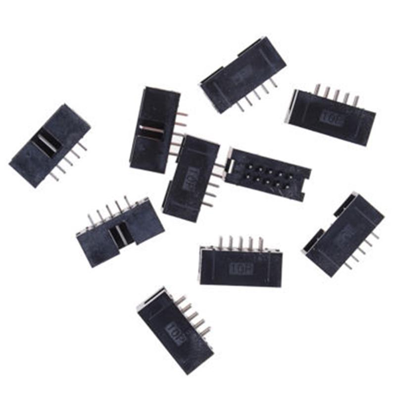 20PCS 2.54mm 2x5 Pin 10 Pin Straight Male Shrouded header IDC Socket