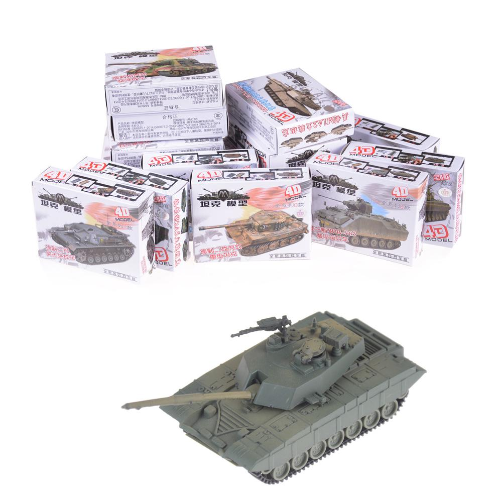 1pcs 1:72 4d Plastic Assemble Tank Kits World War Ii Model Puzzle Assembling Military Sand Table Toys For Children Discounts Sale Model Building Kits