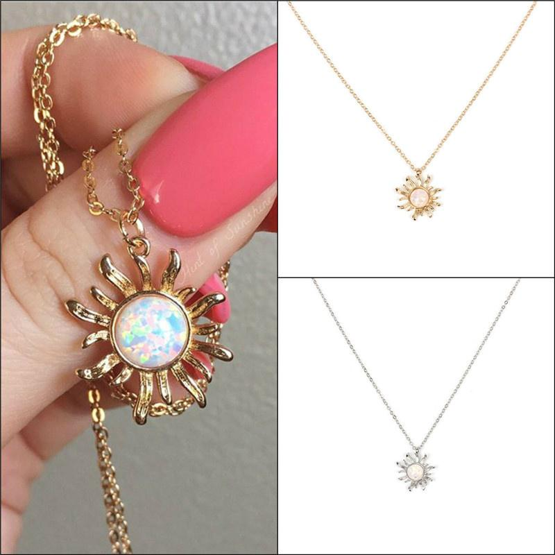 447253869b78 Collar creativo girasol collar de cadena colgante de ópalo joyería retro  mujer gargantilla de clavícula