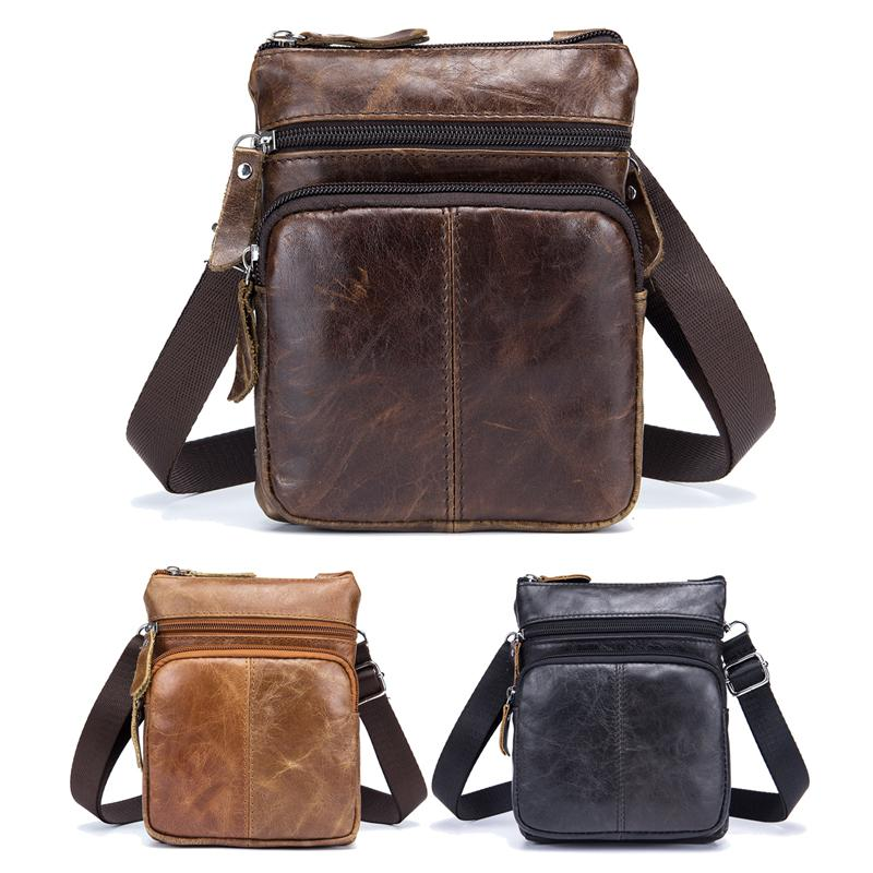 Ybriefbag Outdoor Sports Genuine Leather Leisure Men Chest Bag Shoulder Bags Crossbody Bag Vertical Section Black Chest Pack Daypack Color : Coffee