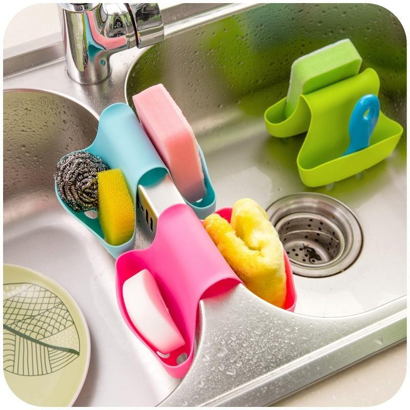 Kitchen Silicone Saddle Double Sponge Holder Soap Sink Rack Dish Brush Drain Bag