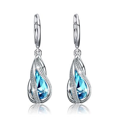 c867b1082ab5fb Oryginalny wykwintne biżuteria dla kobiet okrągły rhinestone pełny kryształ  kolorem srebrnym kolczyk prezent