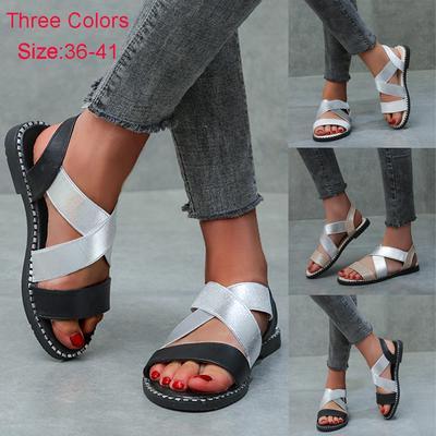 [Coconut Tree] Women's Ladies Flat Shoes Roman Elastic Strap Sandals Fashion Casual Footwear