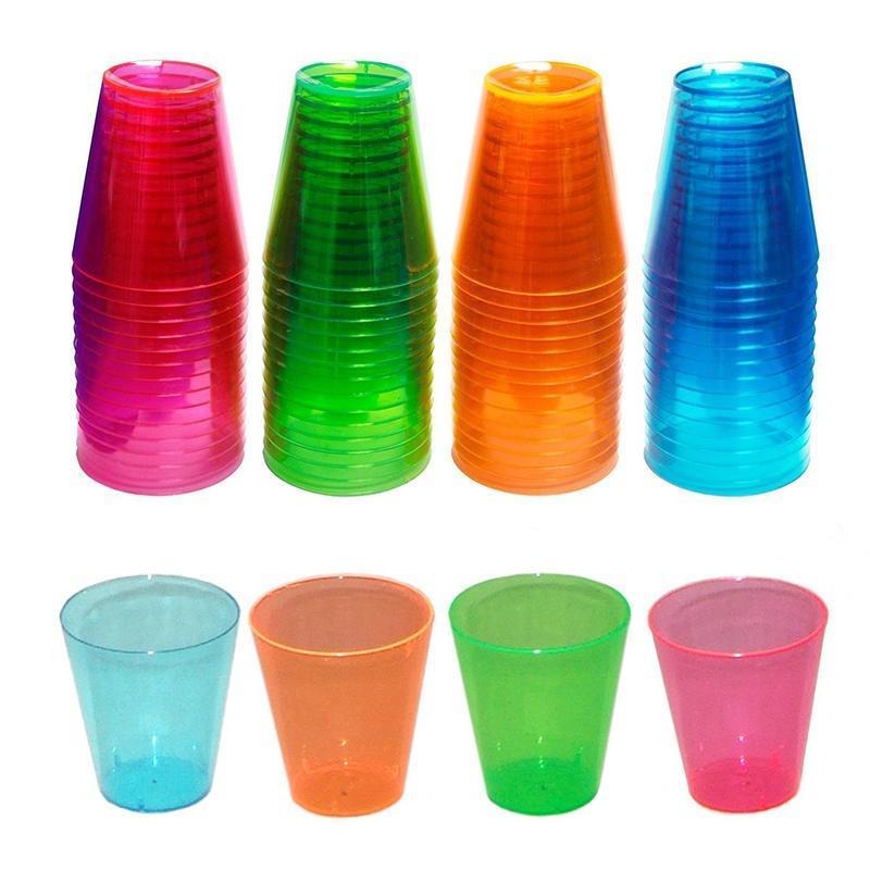 36 Plastic Disposable Neon Colour Party Shot Glasses Jelly Cups 30ml Multicolour