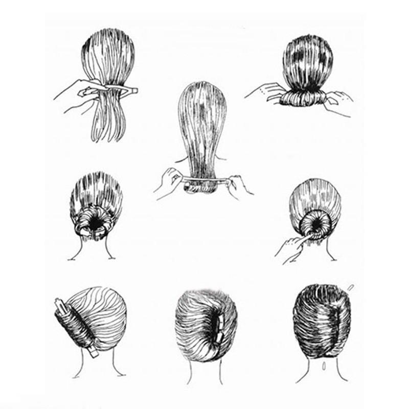 2pcs femmes bricolage chignon coiffure chignon Donut Clip outil formel - faire des achats en ...