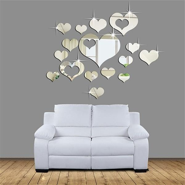 bca4780b98ea Lovely 16PCS Silver Mirror Hearts Decoration Home Room Art 3D DIY Wall  Stickers-buy at a low prices on Joom e-commerce platform