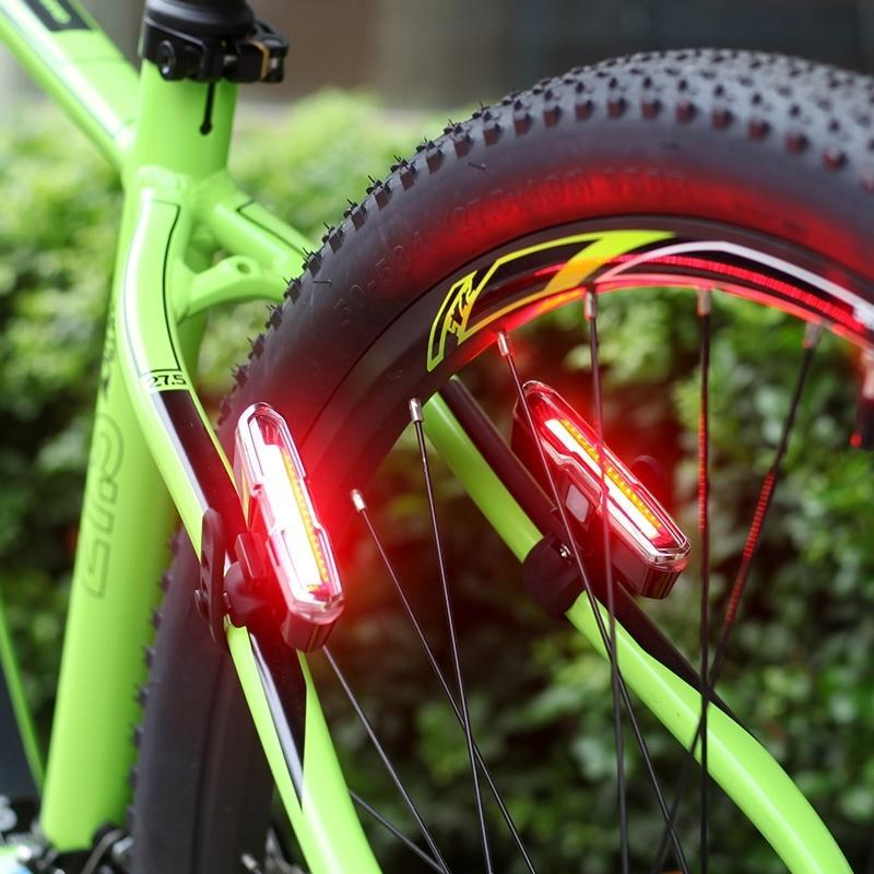 Goofy USB Rechargeable COB Dual color Bicycle Bike Cycling Front Rear Tail Light