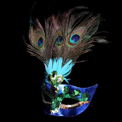 0f805eba9a Peacock Christmas Mask   Halloween Costume Party Half Face Birthday Party  Supplies Gift