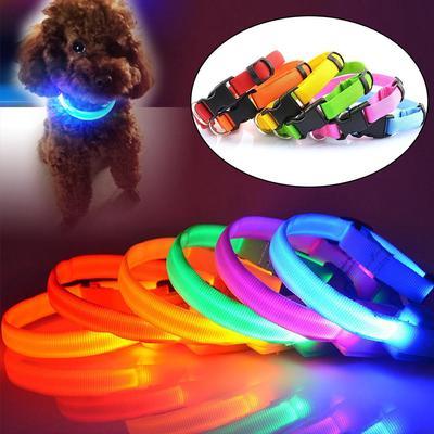 Nylon Led Pet Dog Collar Night Safety Flashing Glow Dog Leash Dogs Luminous Fluorescent Collars