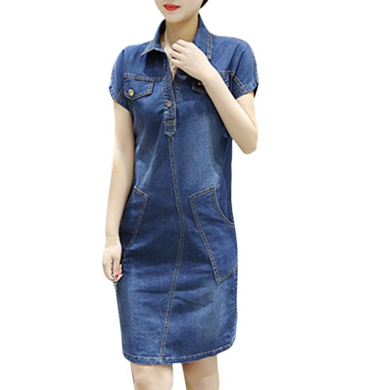 634ab46056 Dril de algodón de verano vestido mujeres Vintage sueltas ...