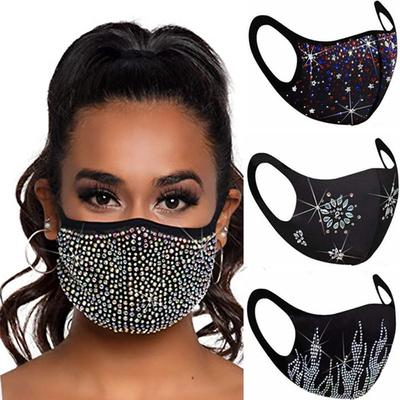 Fashion Unisex Dustproof Face Mask Adult Model Men and Women Rhinestone Hanging Ear Windproof Masks Outdoor Sports Breathable Mask