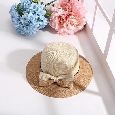 Girls Straw Hat Beach Cap Sun Hat Outdoor Sunscreen Broad Brim Flower Casual  A+