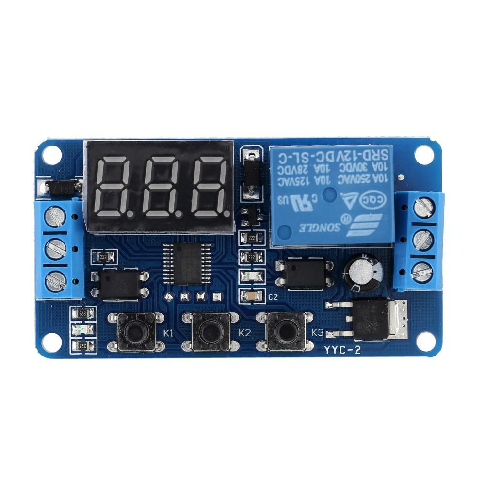 Module de Minuterie Multifonctions Temps Module Commutateur Commande Relais Cycle Diff/ér/é DC 12V 24 V D/éclenchement avec Affichage /à LED Module Commutateur Commande Relais